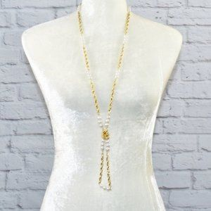 Jewelry - NEW Long Twisted Chain Faux Pearl Necklace